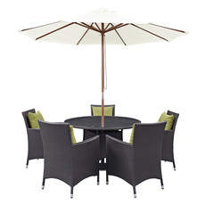 modway furniture convene 7 piece outdoor patio dining set in espresso peridot