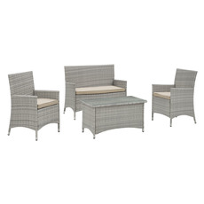 modway furniture bridge 4 piece outdoor patio patio set in light gray beige