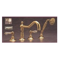 Rohl A1404LC Double Handle Roman Tub Faucet With Swarovski Crystal Lever  Handles And Handshower From The Country Bath Series In Tuscan Brass