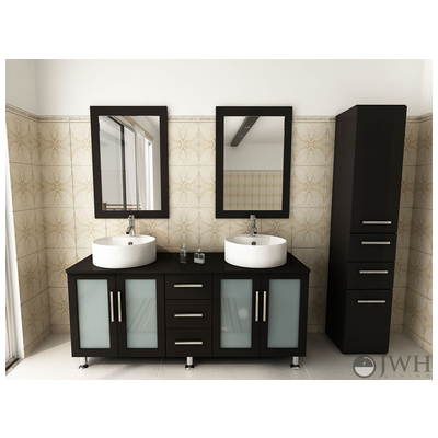 Best Deal Jwh Living Double Lune Bathroom Vanity In Espresso Jwh 4005