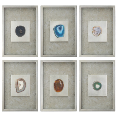 Uttermost Agate Stone Silver Wall Art S 20 14555