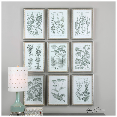 Series herb prints finish frame has a champagne silver finish with a brown wash size 14 w x 20 h x 1 d in upc 792977336250 mpn 33625 width 1