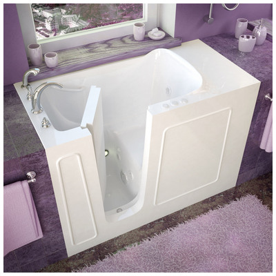 Venzi vz2653lwh venzi 26x53 left drain white whirlpool for Walk in tub water capacity