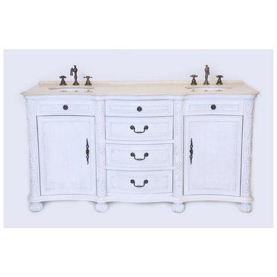 Best Deal B I Direct England 67 Double Sink Bathroom Vanity Set In Whitewash Finish B1747w