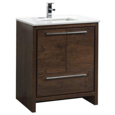 . Kubebath Dolce 30  Rose Wood Modern Bathroom Vanity With White Quartz  Counter top AD630RW
