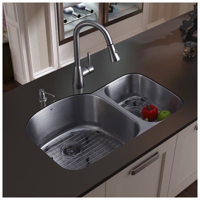 Vigo Vg15045 Undermount Stainless Steel Kitchen Sink Faucet Two Grids Strainers And Dispenser