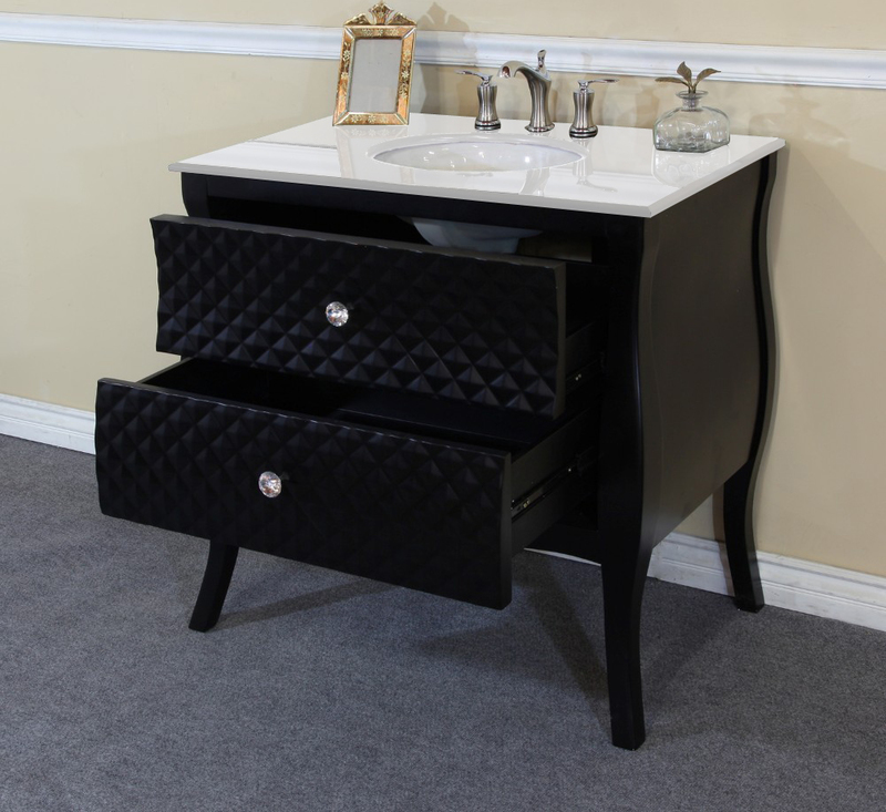 Best Deal Bellaterra Home 35 4 In Single Sink Solid Wood Bathroom Vanity Black White Phoenix Stone Top With Rectanglar Sink 203057b Wh