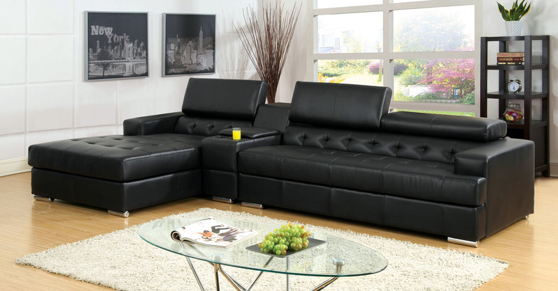 Furniture Of America Idf 6122bk Ct Sofas And Loveseat Hansel Contemporary Style Center Console With Storage