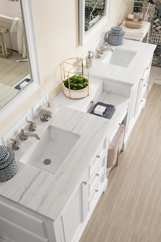 Best Deal James Martin De Soto 94 Double Bathroom Vanity Set Bright White With Makeup Table 3 Cm Arctic Fall Solid Surface Top 825 V94 Bw Du Af