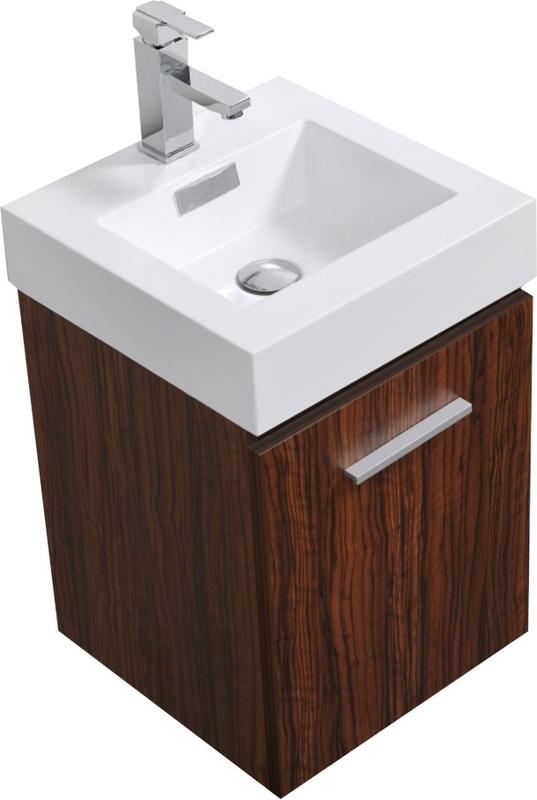 Best Deal Kubebath Bliss 16 Walnut Wall Mount Modern Bathroom Vanity Bsl16 Wnt