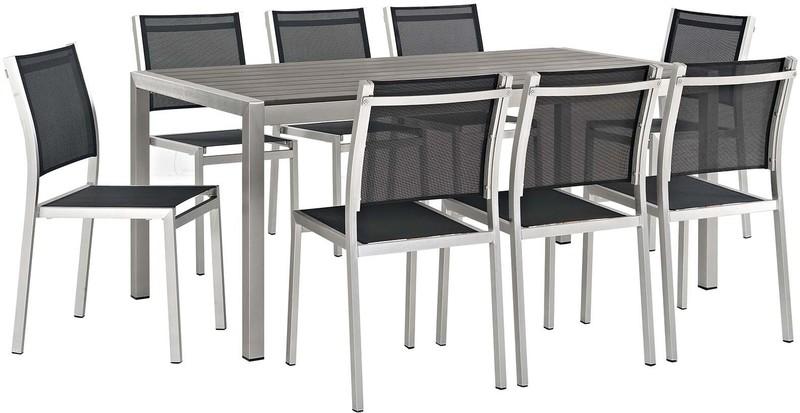 Modway Furniture Eei 2583 Slv Blk Set Outdoor Dining Sets Modway Furniture Eei 2583 Slv Blk Set Shore 9 Piece Outdoor Patio Aluminum Dining Set In Silver Black