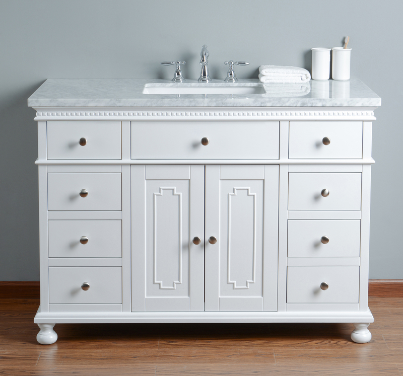 Best Deal Stufurhome Abigail Embellished 48 Inches White Single Sink Bathroom Vanity Hd 1013w 48 Cr