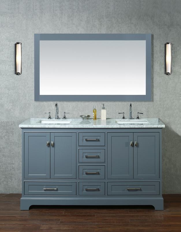 Best Deal Stufurhome Hd 7130g 60 Cr Chanel Grey 60 Inch Double Sink Bathroom Vanity With Mirror
