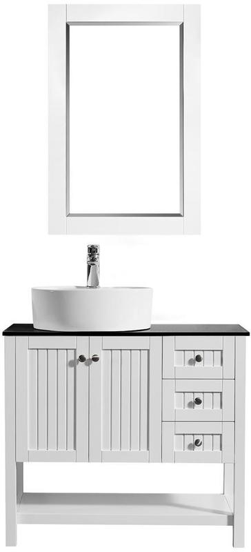 Best Deal Modena 36 Bathroom Vanity In White With Glass Countertop With White Vessel Sink With Mirror 756036 Wh Bg