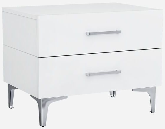 Whiteline Ns1345 Wht Imports Diva Night Stand High Gloss White Chrome Handles Self Close Drawers Stainless Steel Legs Wh