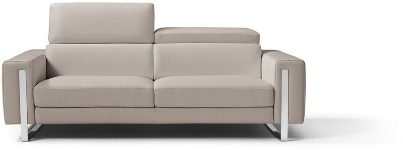 Whiteline So1423ls Wgry Whiteline Imports Adriano Sofa 100 Made In Italy Warm Grey Grain Leather 1063 L09s Adjustable Headrest Polished Sta