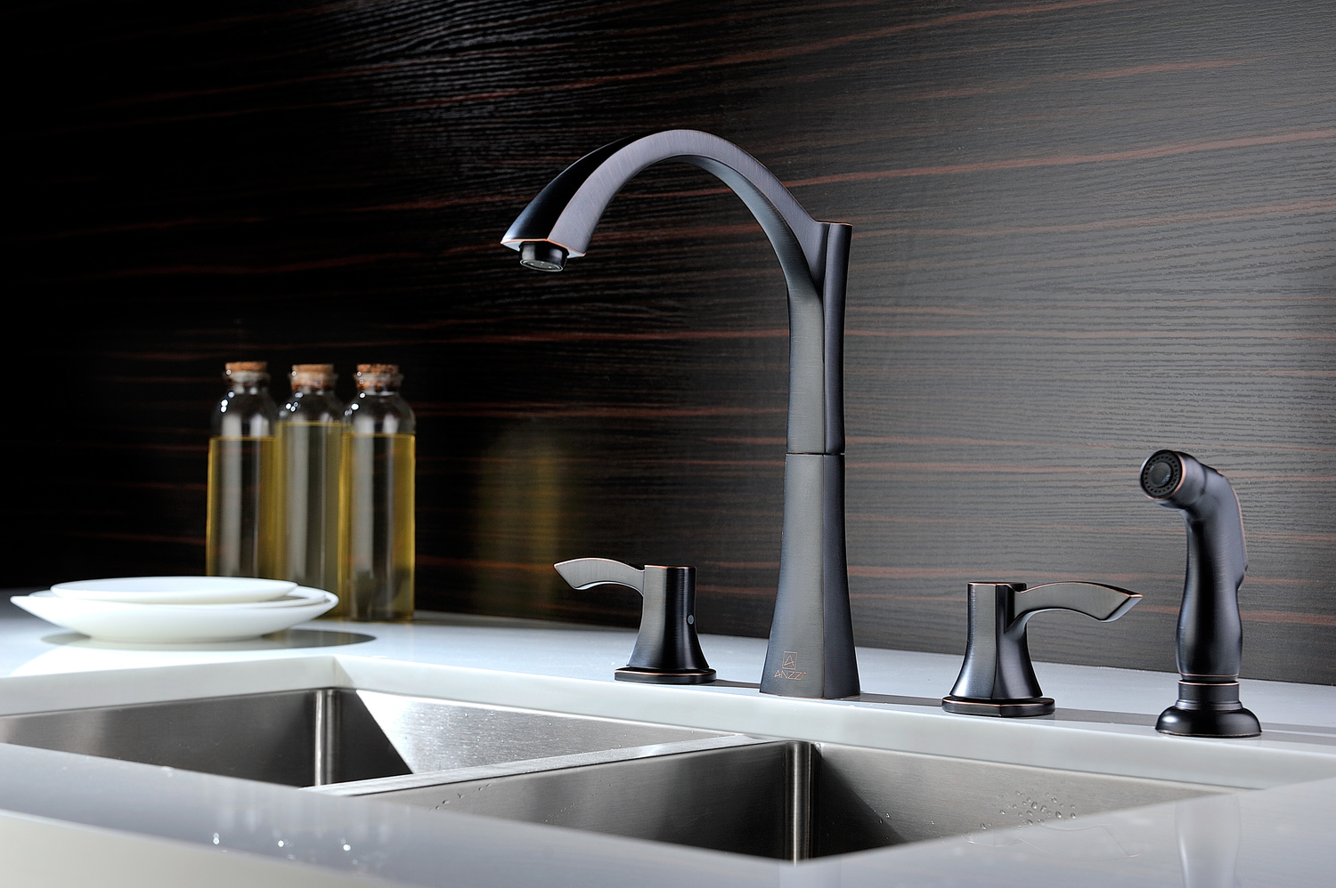 Anzzi, KF-AZ032ORB, , Soave Series 2 Handle Kitchen Faucet In Oil ...