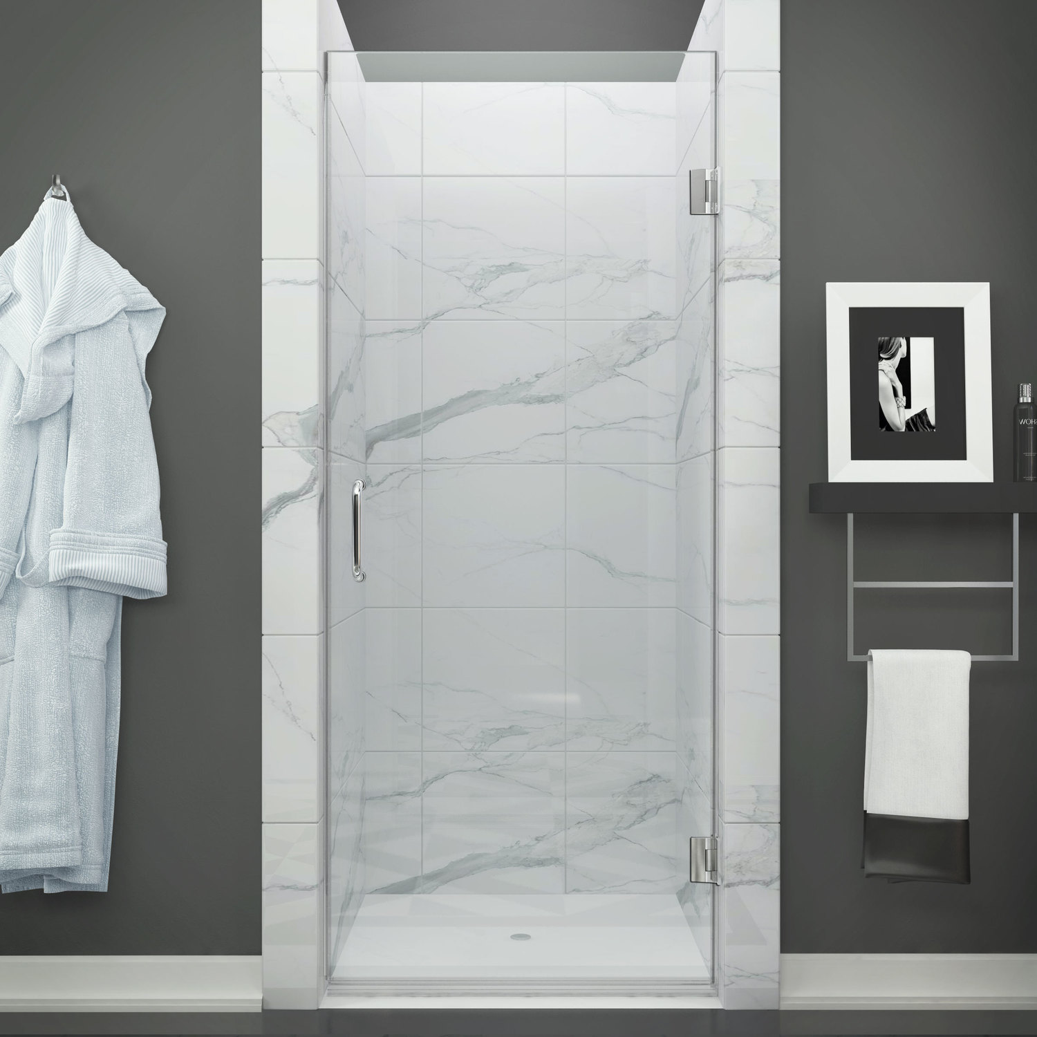 Anzzi Sd Az09 01ch Fellow Series 24 In By 72 In Frameless Hinged