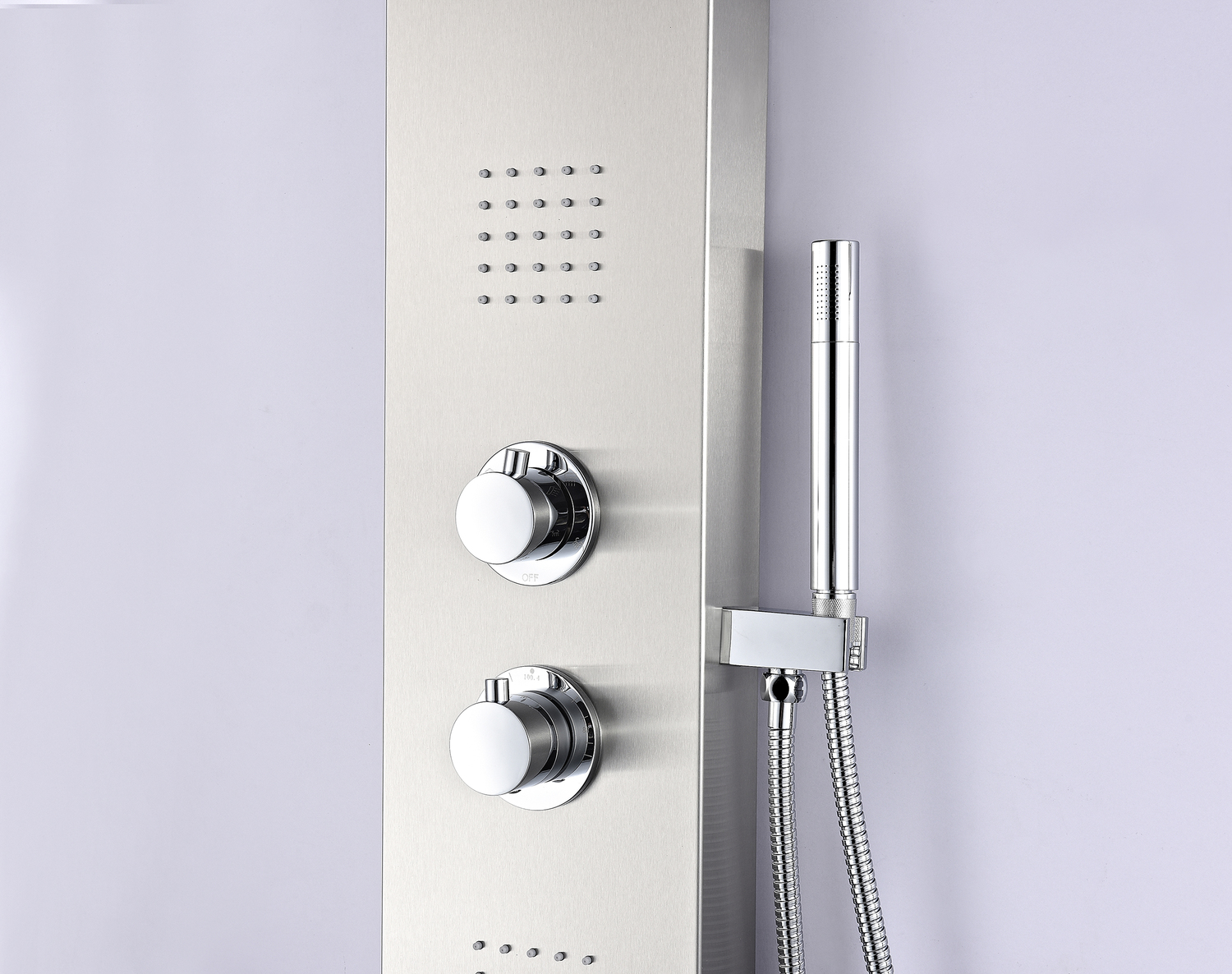 Anzzi Sp Az038 Anchorage Series 60 In Full Body Shower Panel System With Heavy Rain And Spray Wand Brushed Steel