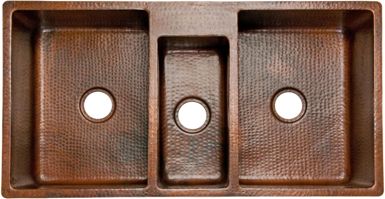 Premier Copper Products, KTDB422210, , 42 Quot Copper Hammered Kitchen Triple  Basin Sink