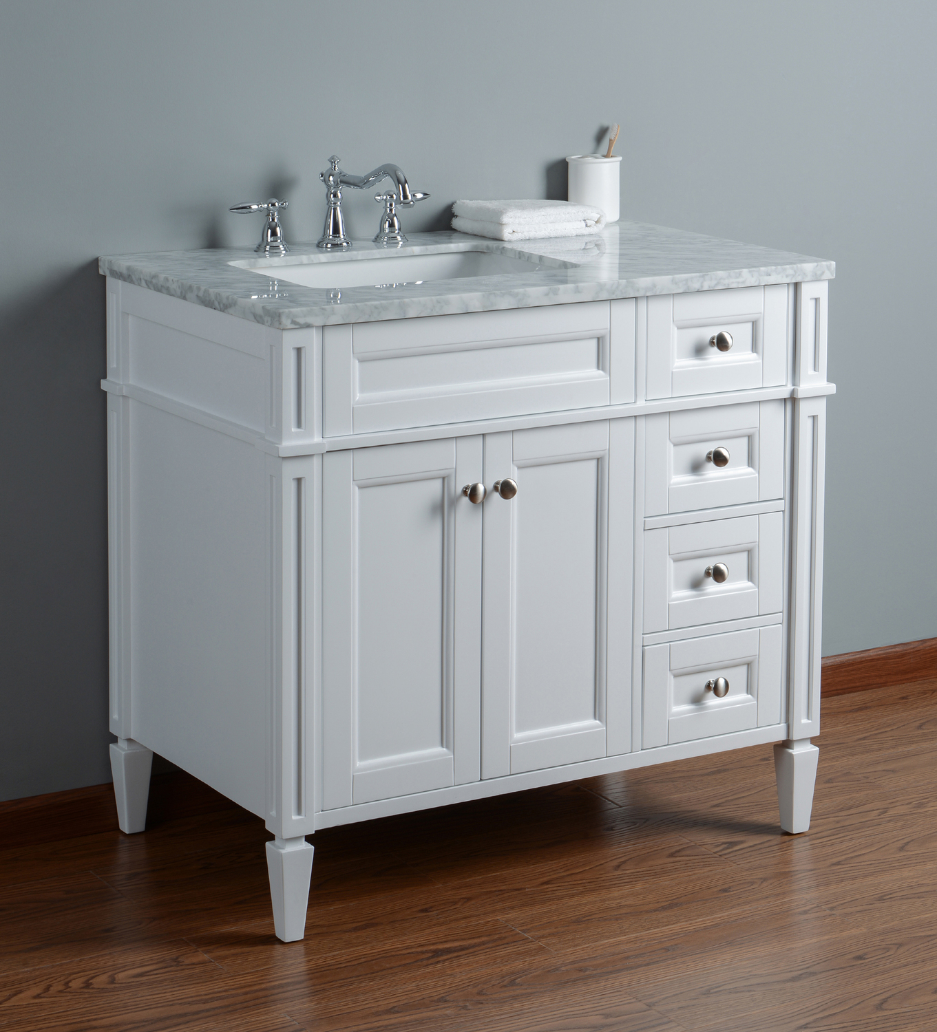 Best Deal - Stufurhome Anastasia French 36 Inches White Single Sink ...