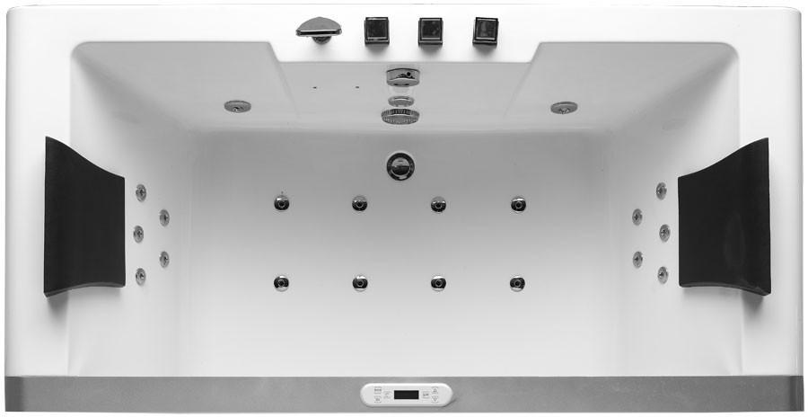 Eago, AM196, , Eago Am196 6 Left Drain Rectangular Corner Whirlpool Bath Tub  With Fixtures