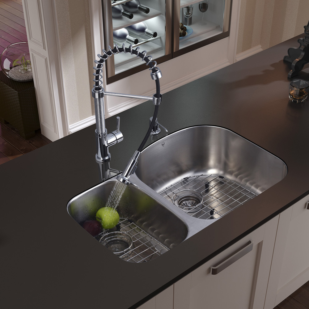 Vigo, VG15057, , Undermount Stainless Steel Kitchen Sink Faucet Two ...