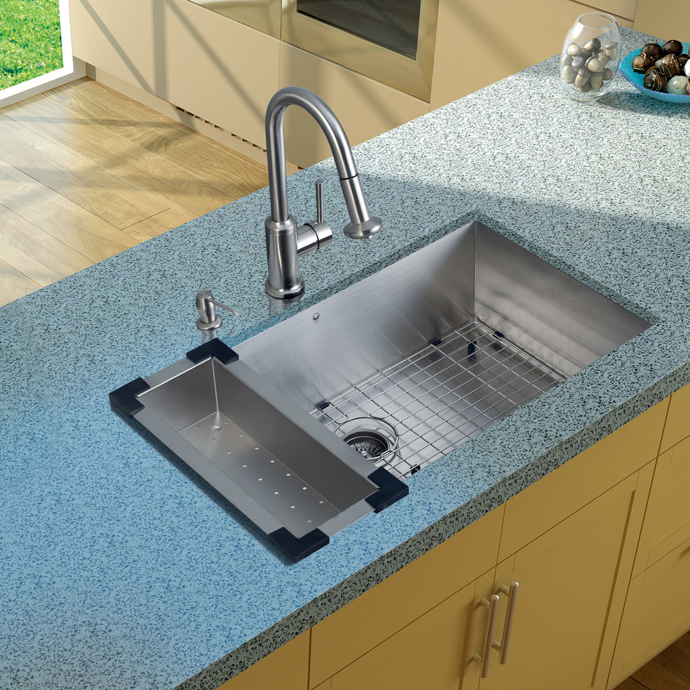 Vigo, VG15070, , Undermount Stainless Steel Kitchen Sink Faucet ...